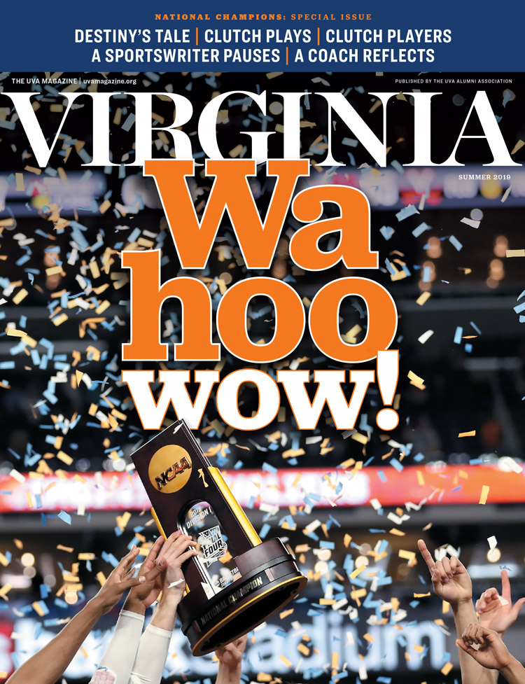 Cover image from Summer 2019 issue, featuring UVA men's basketball