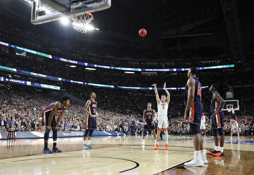 Kyle Guy shooting one of three free throws with 0.6 seconds remaining vs. Auburn in the Final Four