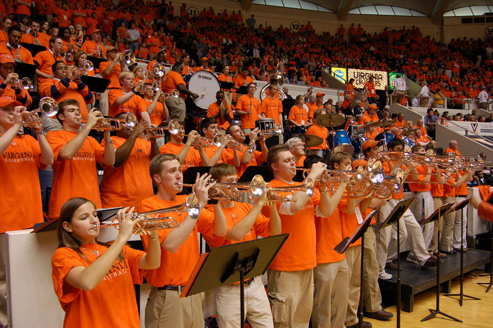 Members of the Cavalier Marching Band's HOOps Band playing at U-Hall