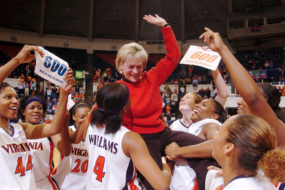 Coach Debbie Ryan celebrates her 600th career victory at U-Hall in December 2004