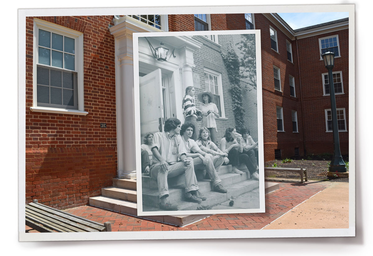 Students sit on the steps of Metcalf dorm in a 1977 photo overlaid on top of a current photo