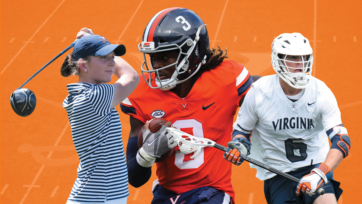 Collage of golfer Beth Lillie, quarterback Bryce Perkins, and lacrosse player Dox Aitken