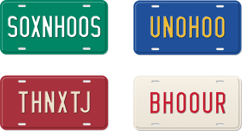 Four license plates:  S0XNH00S, UN0H00, THNXTJ, and BH00UR