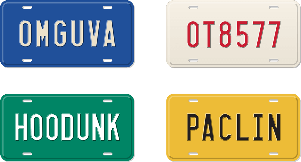 Four license plates:  0MGUVA, PACLIN, 0T8577, and H00DUNK