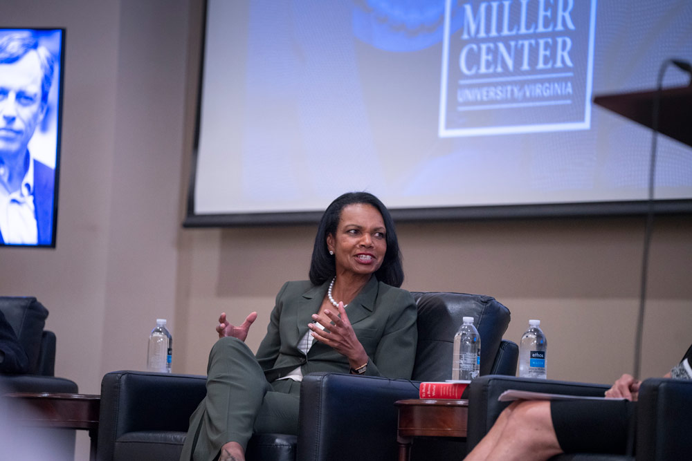 Former Secretary of State Condoleezza Rice speaking at the Miller Center