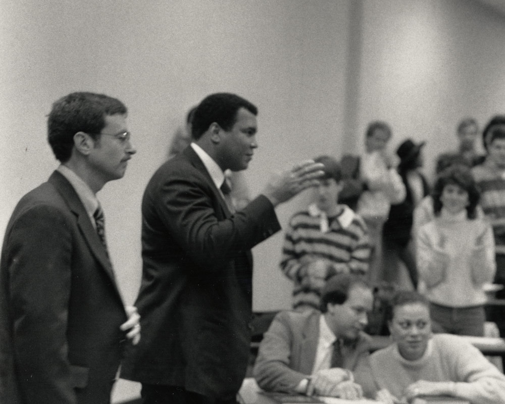 Muhammad Ali speaking to a UVA Law class