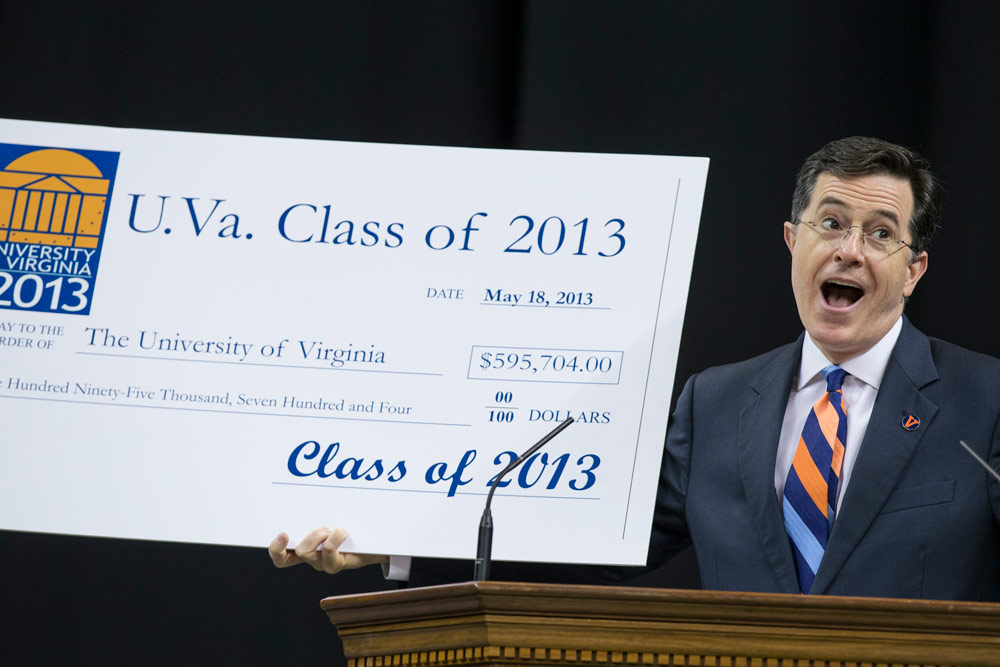 Comedian Stephen Colbert speaking at 2013 Valedictory Exercises