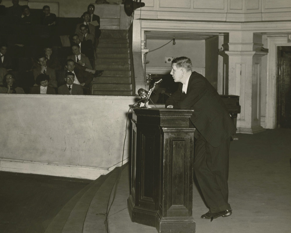 W.H. Auden speaking in Old Cabell Hall