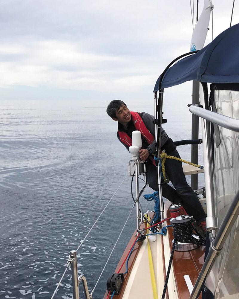 Mitsuhiro Iwamoto on the boat
