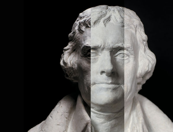 Sculpture of Thomas Jefferson shown in three different lights