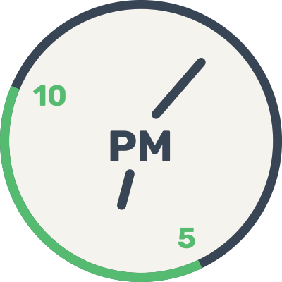 Clock with 5-10p.m. range highlighted