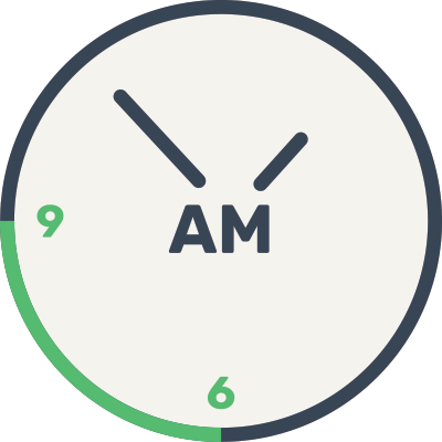Clock with 6-9a.m. range highlighted