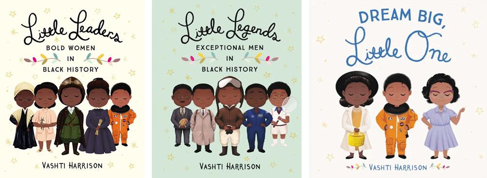 Covers of three books by Vashti Harrison