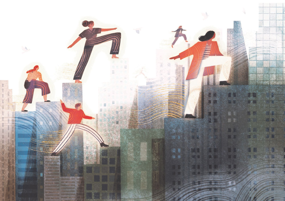 Illustration of people walking over buildings, symbolizing mobility through an urban environment