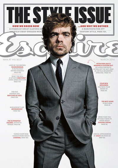 Cover of Esquire magazine featuring Peter Dinklage