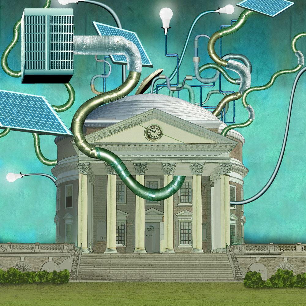 Illustration of the Rotunda with solar panels, LED lights, and other elements related to sustainability