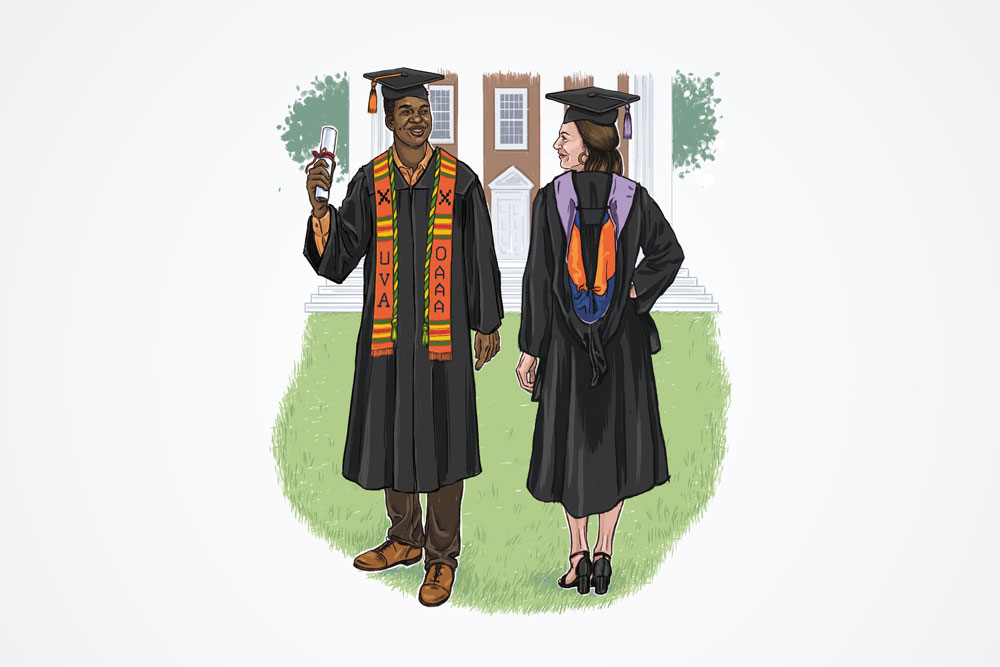One graduate wearing a Bachelor's gown with a kente cloth stole, and another wearing a Master's gown and hood