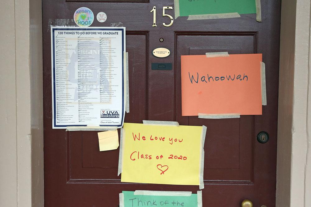 Posters adorn the door of Lawn room number 15