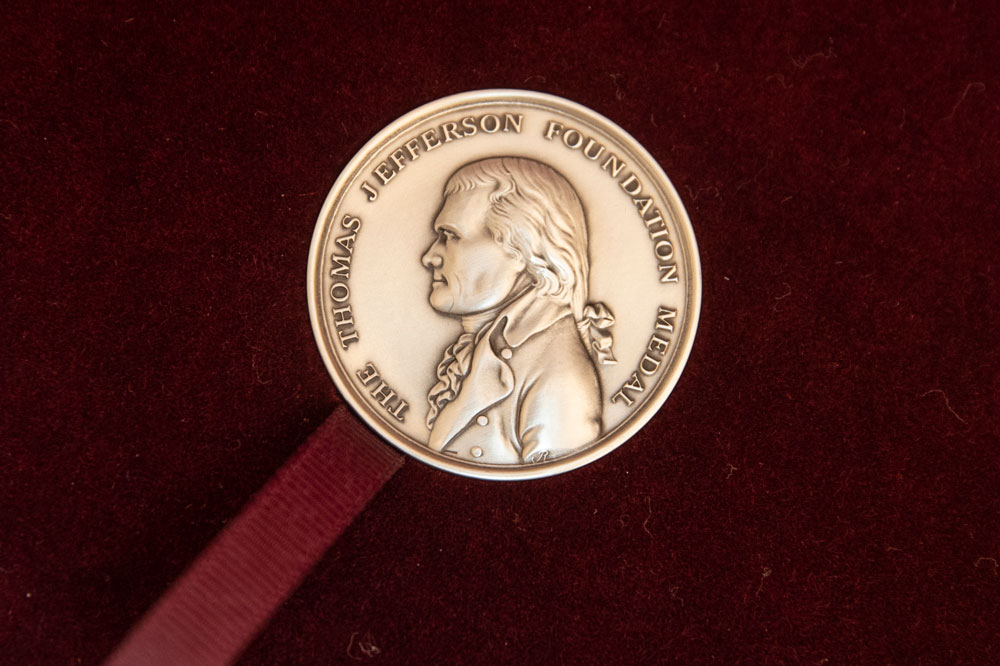 Close-up of a medal with Thomas Jefferson in profile and the words 'The Thomas Jefferson Foundation Medal' around the edge