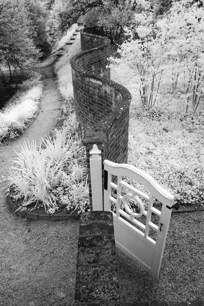 Infrared photo of a Pavilion garden gate