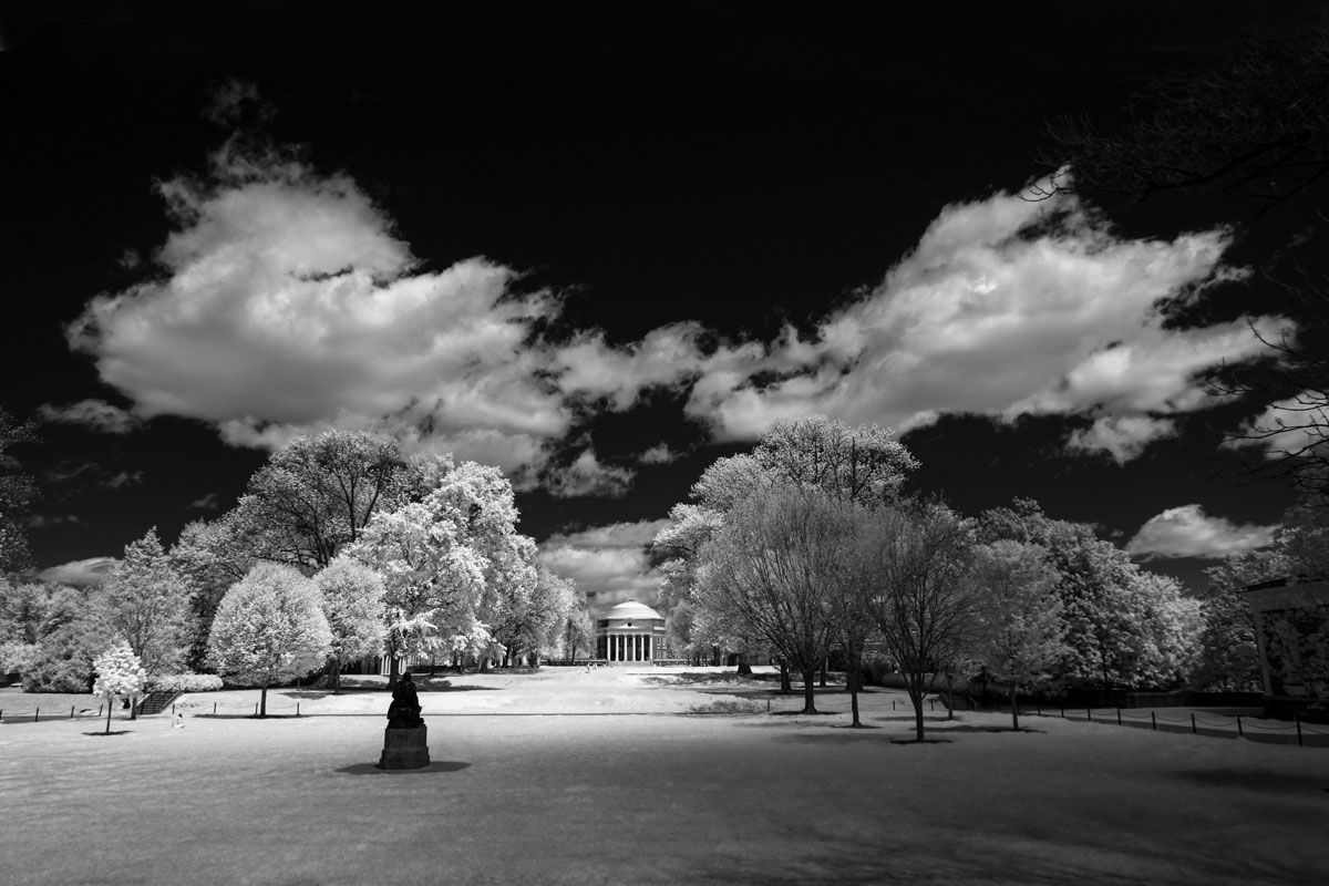 Infrared photo of the Lawn looking north towards the Rotunda, with the Homer statue in the foreground