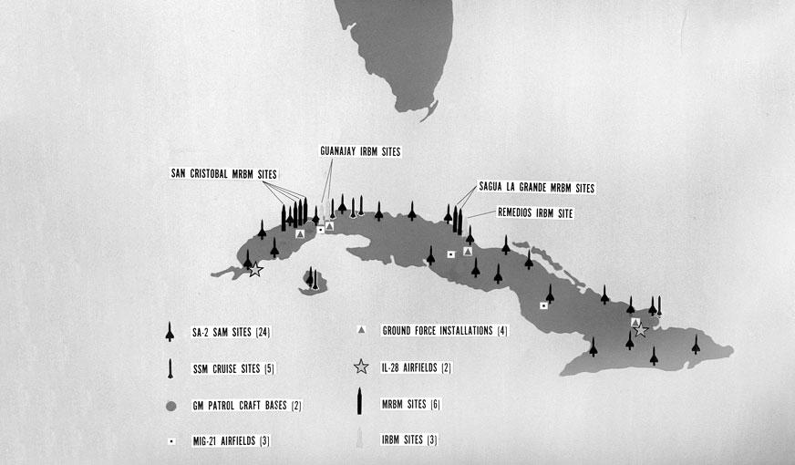 Map depicting missile sites in Cuba during the Cuban Missile Crisis of 1962