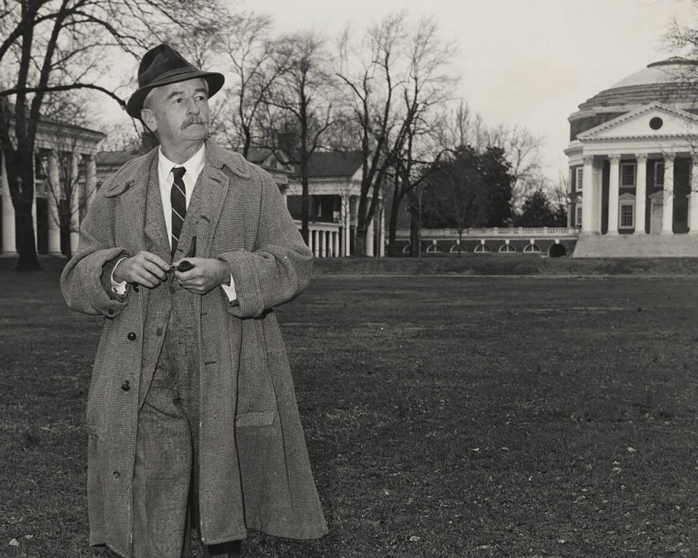 William Faulkner walking on the Lawn