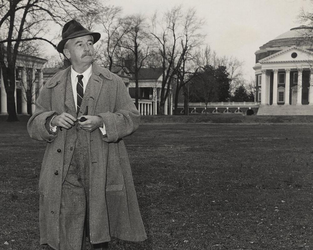 William Faulkner walking on the Lawn