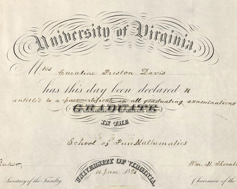 Caroline Preston Davis's certificate declaring she had passed her examinations in the School of Pure Mathematics