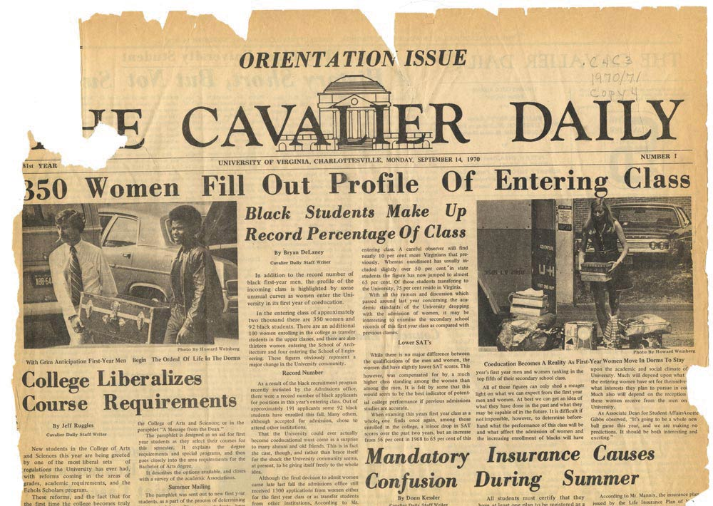 Front page of the Cavalier Daily from September 14, 1970, with the headline '350 Women Fill Out Profile Of Entering Class'