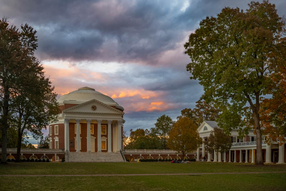 The Rotunda and Lawn at sunset in early fall