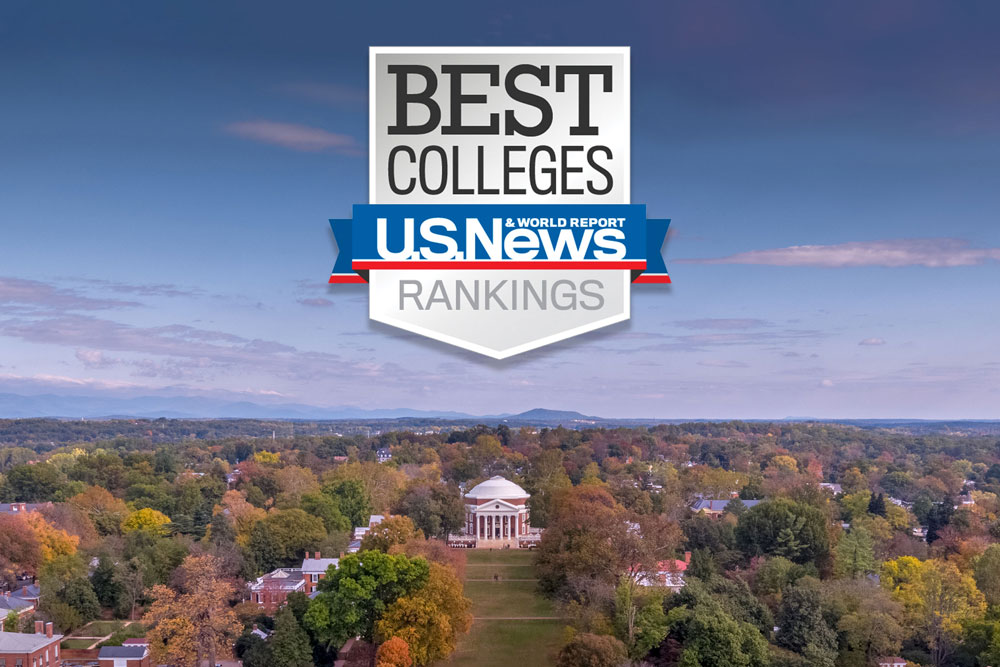 Aerial view of the Lawn and Rotunda with the U.S. News Best Colleges logo above