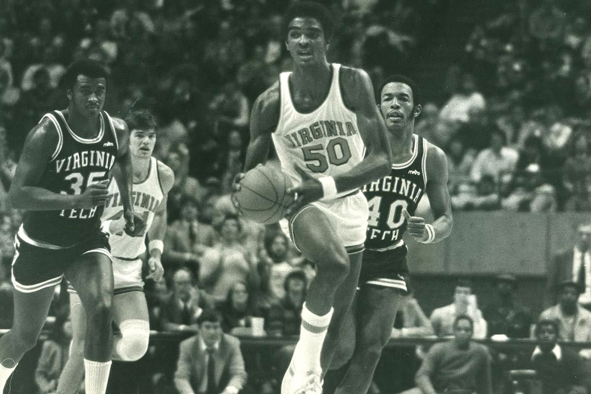 Ralph Sampson in action against Virginia Tech