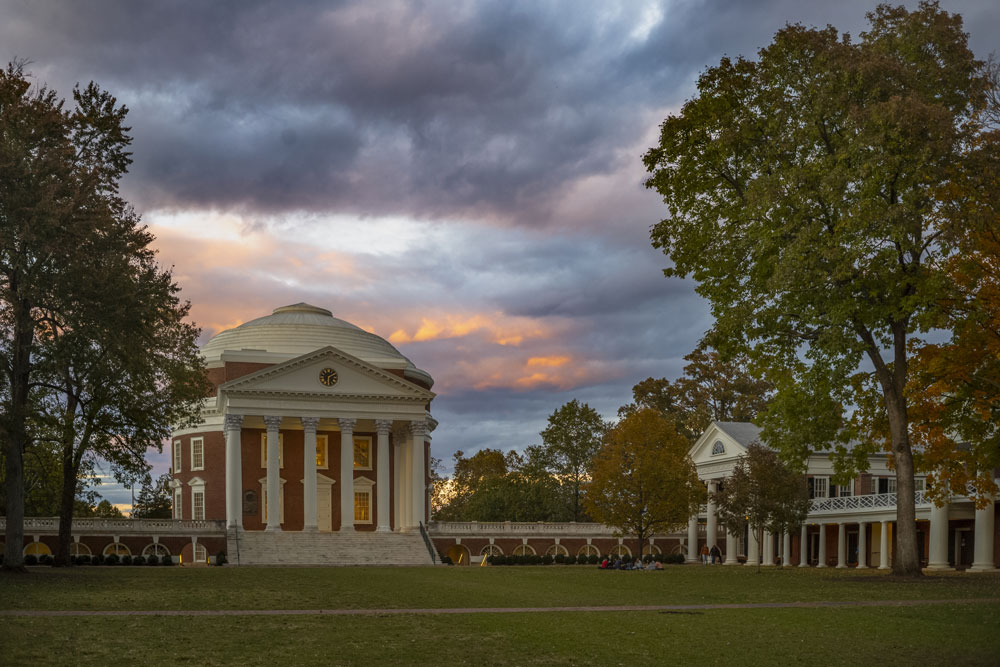 The Rotunda and Lawn at sunset