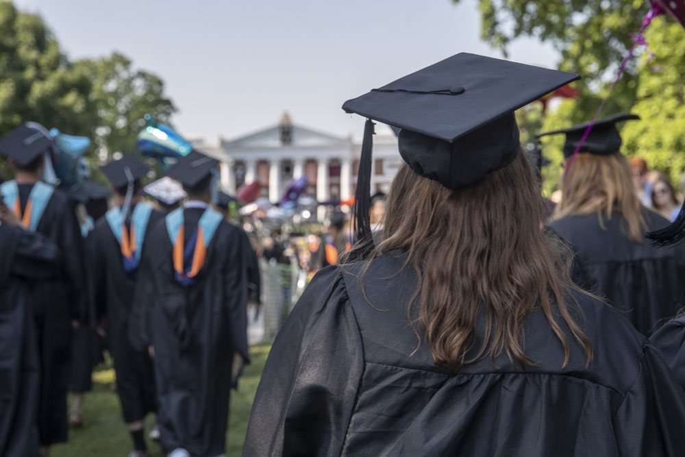 Graduates walking the Lawn in 2019