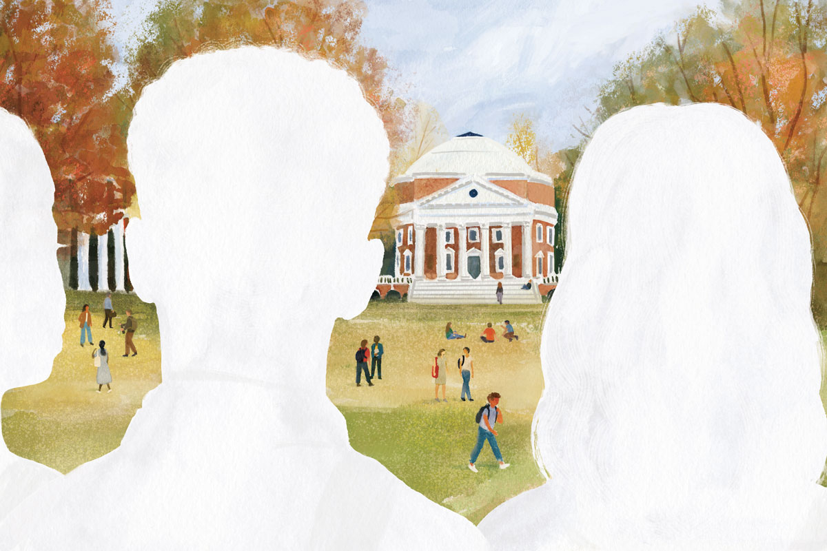 Illustration of silhouetted students looking at the Rotunda from the Lawn