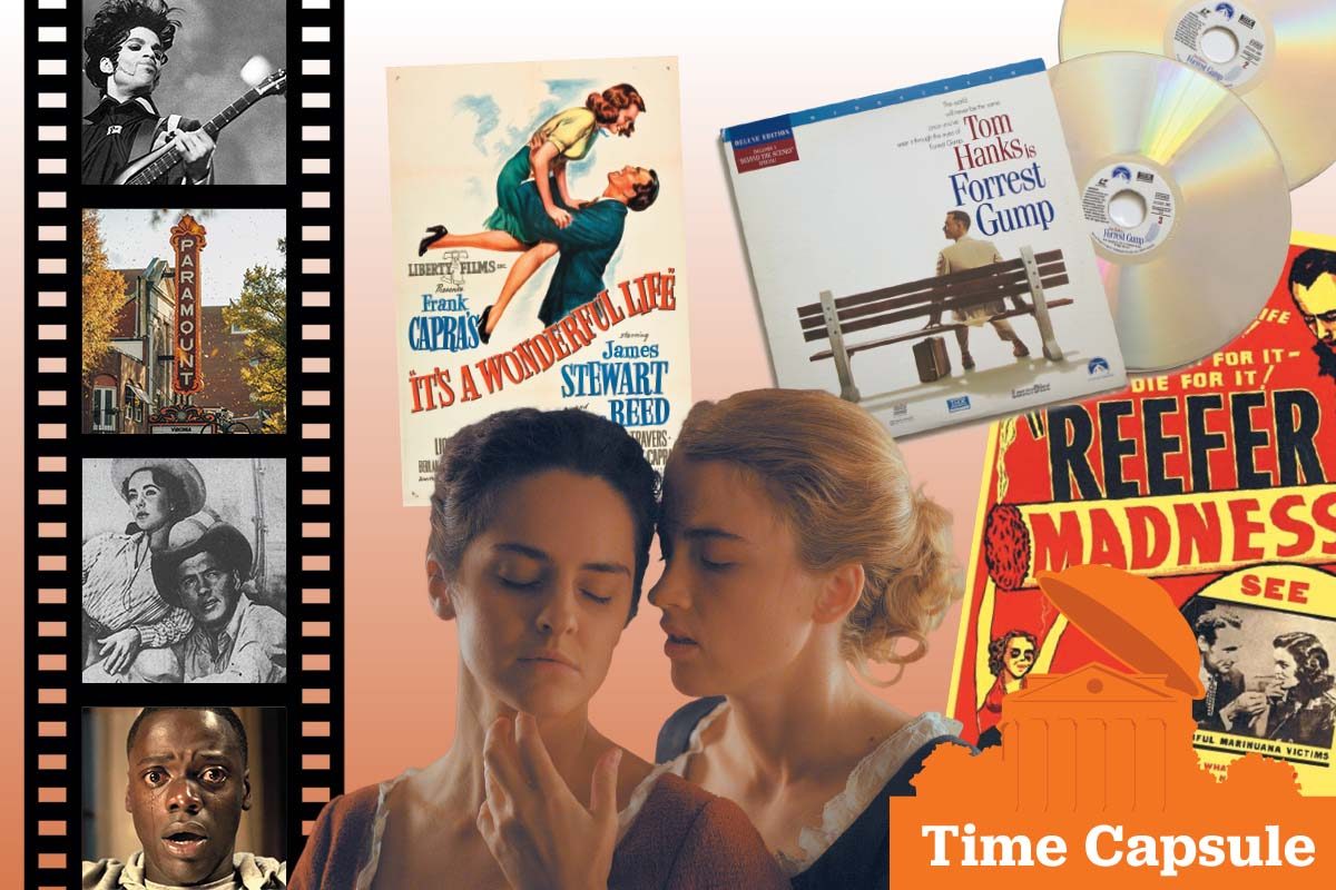 Collage of movie stills, posters, film, and discs