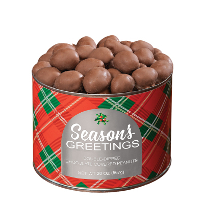 20 oz. Holiday Plaid Double-Dipped Chocolate Peanuts