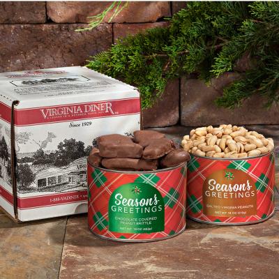 Season's Greetings Salted Peanuts & Chocolate Peanut Brittle Duet