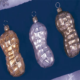 Christopher Radko Peanut Ornaments (3 pc set- Gold, Silver, Bronze)