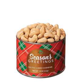 18 oz. Holiday Plaid Salted Jumbo Cashews