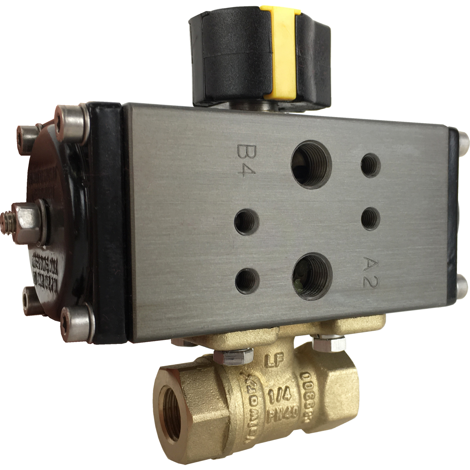 """1/4"""" Compact Air Actuated Brass Ball Valve - Double Acting"""