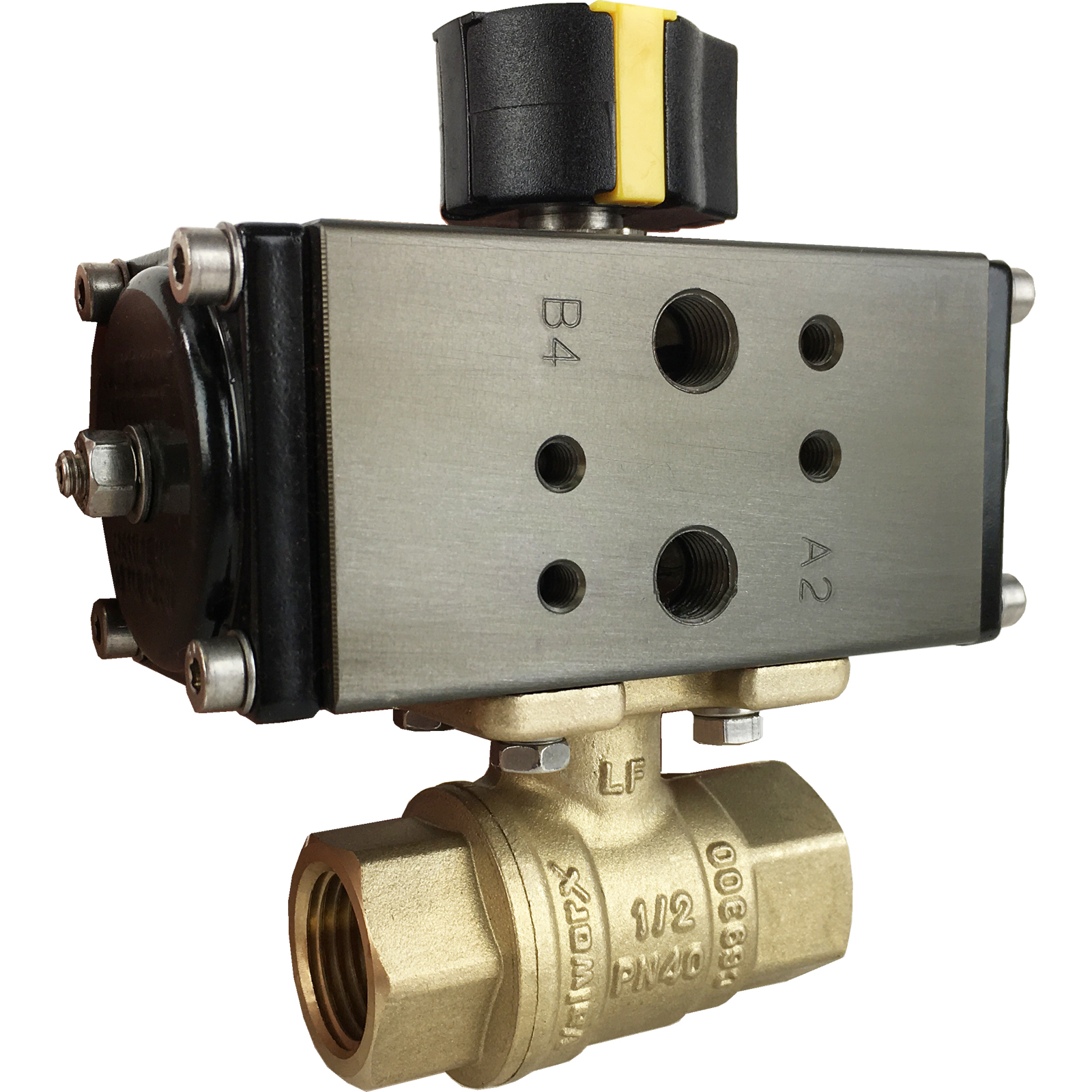 "1/2"" Compact Air Actuated Brass Ball Valve - Double Acting"
