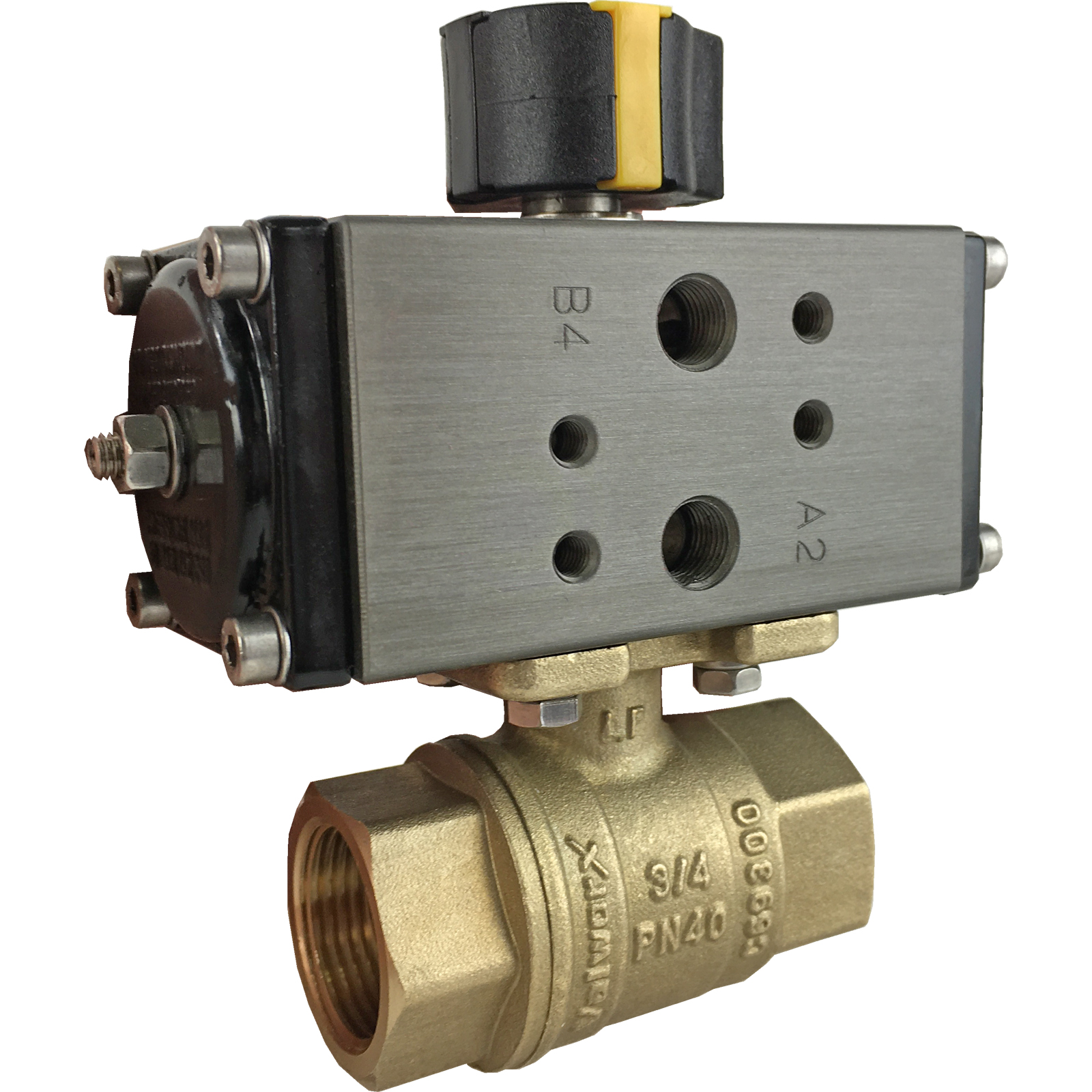 """3/4"""" Compact Air Actuated Brass Ball Valve - Double Acting"""