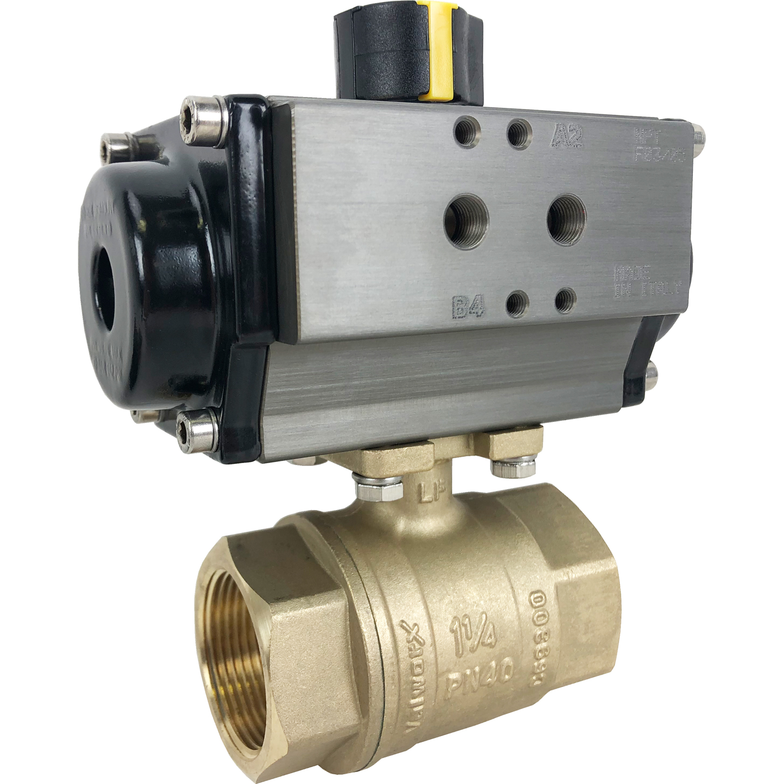 """1-1/4"""" Air Actuated Brass Ball Valve - Double Acting"""