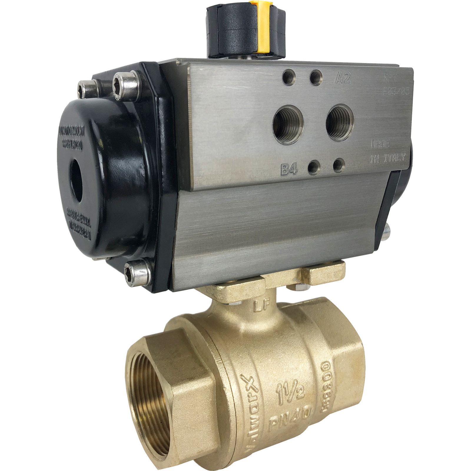 "1-1/2"" Air Actuated Brass Ball Valve - Spring Return"