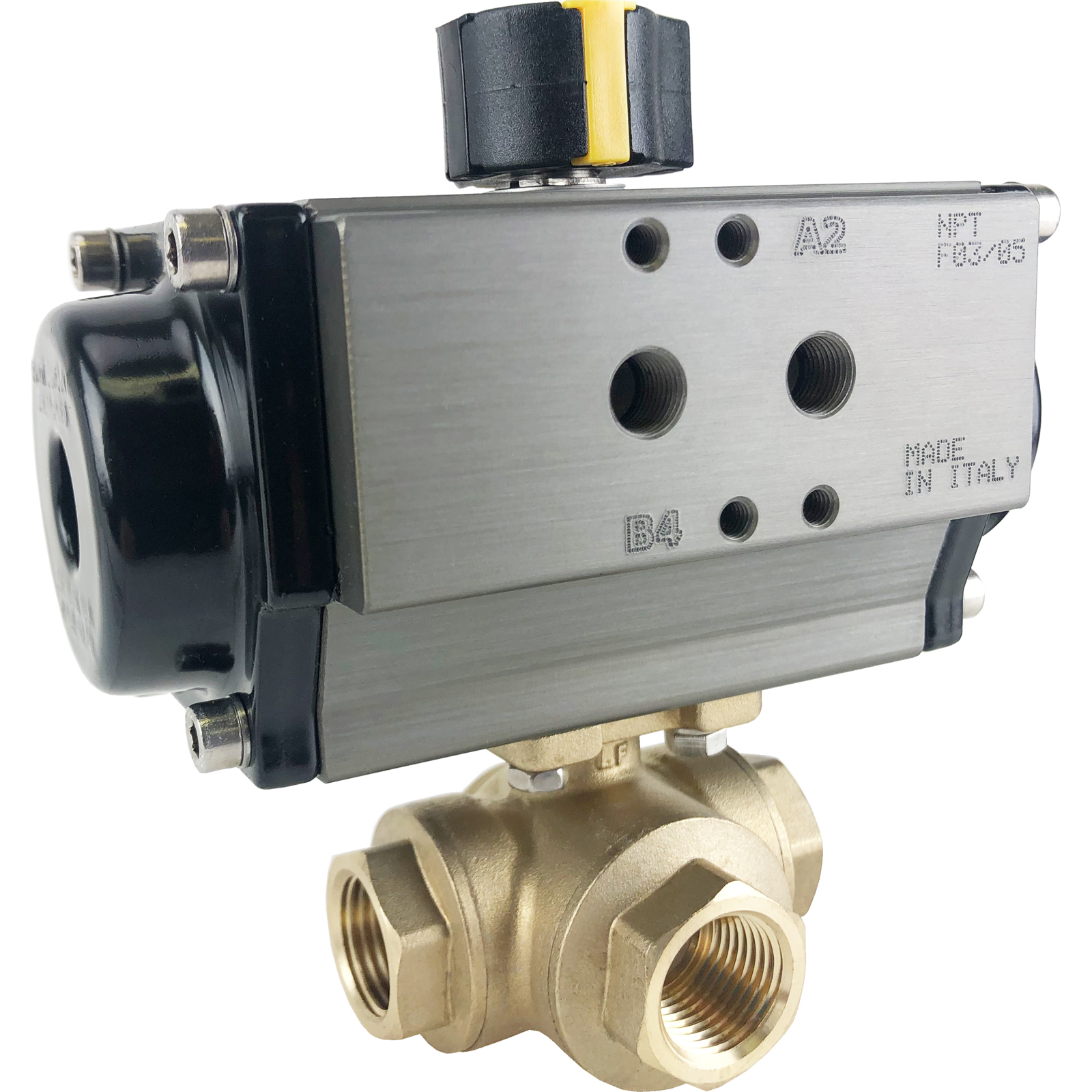 "1/2"" Air Actuated 3-Way Brass T-Diverter Valve, SR"