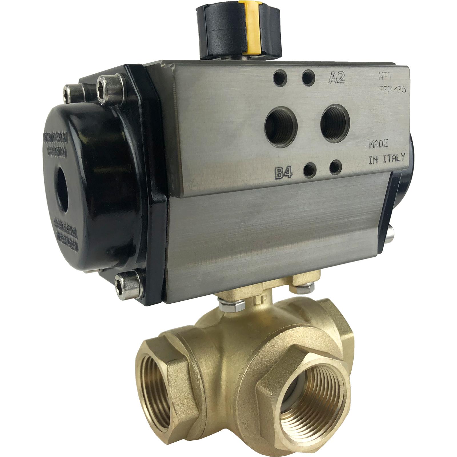"1"" Air Actuated 3-Way Brass L-Diverter Valve, SR"