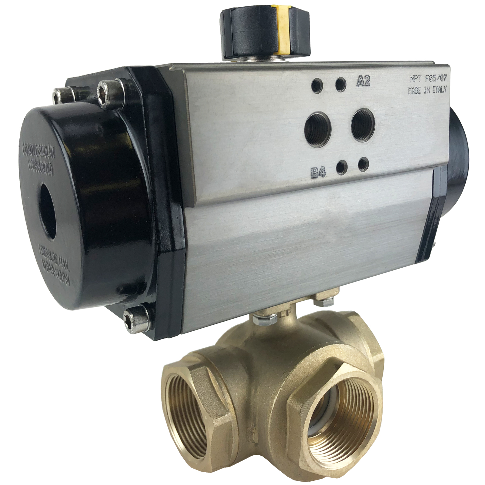 "1-1/4"" Air Actuated 3-Way Brass L-Diverter Valve, SR"