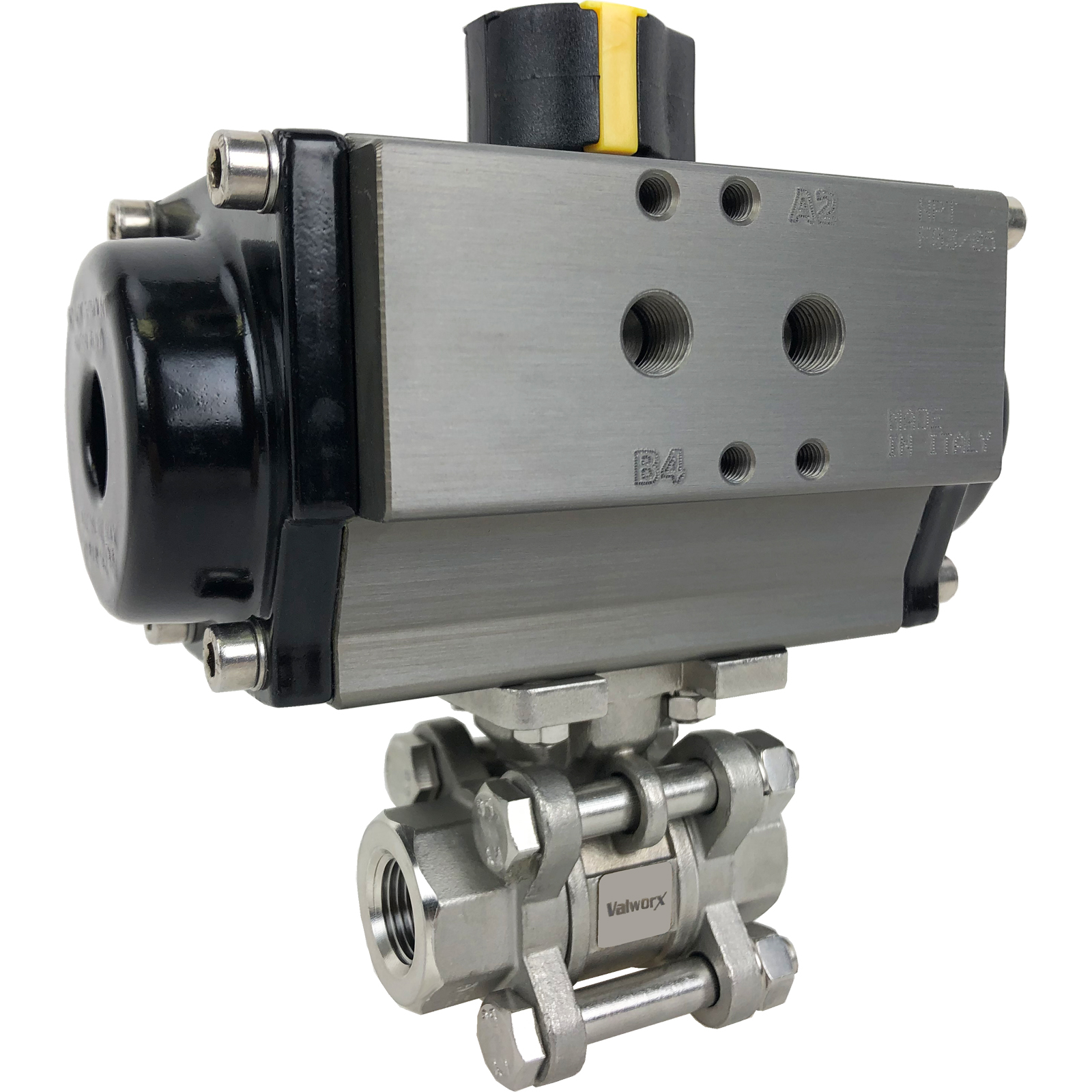"""3/8"""" Air Actuated 3-pc Stainless Ball Valve - Spring Return"""